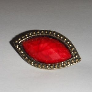 Eye Shaped Red Colored Brooch